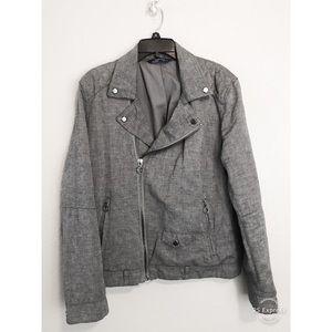 Zara Man Gray Moto Jacket Asymmetrical Silver Zip
